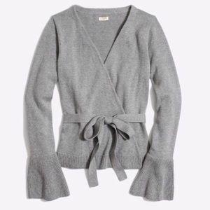 J. Crew Grey Bell Sleeve Wrap Sweater